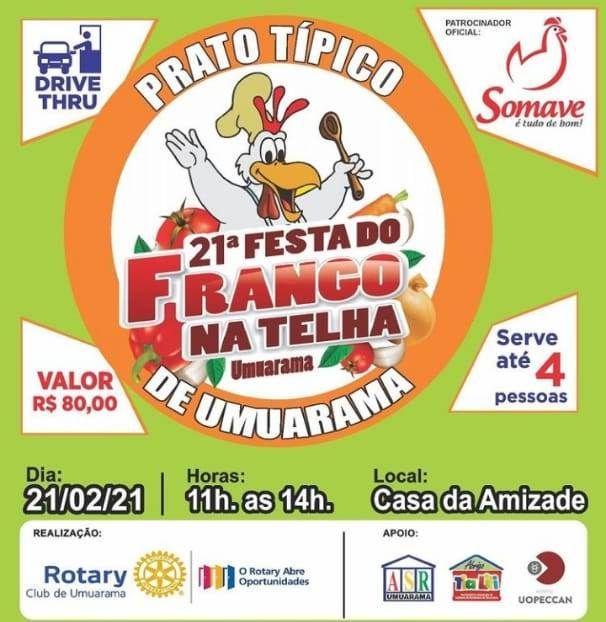 Rotary Club de Umuarama promove Frango na Telha em modalidade drive-thru